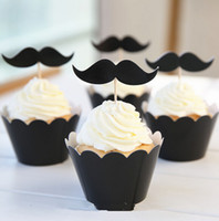 Wholesale 120pcs Black Mustache Cupcake Wrapper Topper Wedding Birthday Party Favors Funny Supplies