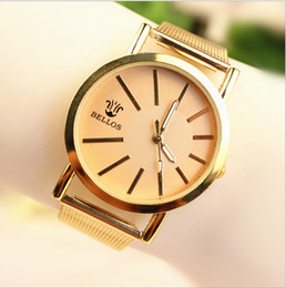 Wholesale 2014 New Arrival BELLOS Stainless Watches Men Business Watches Golden Color Watches B2C C2C Hot Selling Watches Good Service Watches