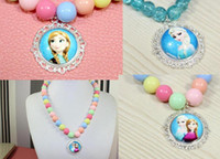 Cheap Hot Sale Mix 4 Styles Frozen Elsa Anna Princess Charm Pendant Necklaces Baby Girls Kids Party Necklaces Jewelry
