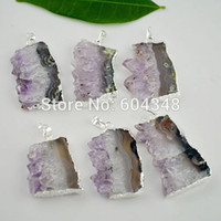 amethyst slices - 3 Amethyst Quartz Druzy Slice Stone Pendant Silver plated edged Nature Crystal Drusy Gem Stone Pendant