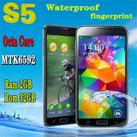 Wholesale Perfect quot MP S5 i9600 Phone MTK6592 Octa Core RAM GB ROM GB GHz Android4 OS fingerprint Waterproof unlocked phone