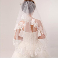 Wholesale Exquisite Elbow Length Tulle Wedding Bridal Veil Two Layer Applique Lace Wedding Veils Cheap formal dress
