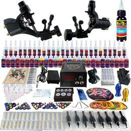 Wholesale Complete Tattoo Kit Pro Rotary Machine Guns Inks Power Supply Needle Grips TK255