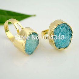 5pcs Natural Turquoise Blue Druzy Quartz Bezel Ring, Crystal Drusy Finger Gem Stone Ring Gold Plated Adjustable Size