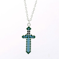 hot new Minecraft Sword Pendant Necklaces Key Chains Necklac...