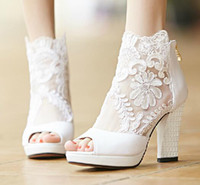 Wedding beauty med - 2015 Fashion Winter Wedding Boots cm High Heels Sexy White Sheer Lace Beauty Prom Peep Toe Evening Party Dress Women Lady Bridal Shoes