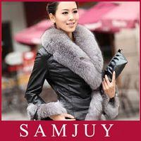 Wholesale Freeship New hot sale Winter New Products Female Fur Coat Slim Full Sleeve Leather Jackets Blazer Women Fox Fur Outerwear