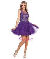 Cheap Purple Bateau Ball Gown Homecoming Dresses Cheap Lace Cocktail Dress Backless Tulle Sheer See Through Prom Gowns Sexy Club Dress 2015 P10573