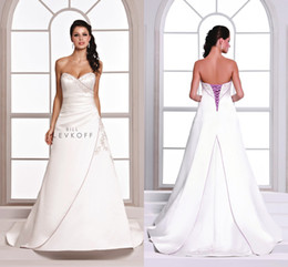Sexy 2018 Vintage Purple And White Wedding Dresses Embroidery Bill Levkoff Sweetheart A Line Plus Size Lace Up Wedding Dresses DL1313526