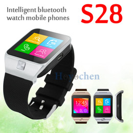 Wholesale S28 Smart Watch Phone MTK6260 Wireless Bluetooth Sync SIM TF Pedometer Smartwatch Wristwatch For Samsung Android Phone