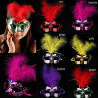 Wholesale 100pcs promotion selling party mask welding gold Fashion Water Ripple Pattern Half face Party Mask Creative Plastic Feather Mask