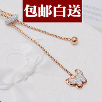 Cheap Butterfly flower color gold diamond sweater chain necklace long section of women rose gold ornaments New Year creative birthday gift