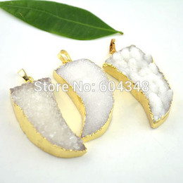 5pcs Druzy Quartz Drusy Stone Pendant in white color, Nature Bent Moon shape Gold plated Edge Druzy Pendant, Gem stone pendant