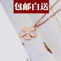 Cheap Delicate plum flower color gold diamond necklace female short paragraph clavicle rose gold pendant retro ornaments creative gifts