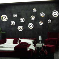 Wholesale d acrylic set DIY mirror wall stickers home decor abstract circle for living room and bedroom decoration