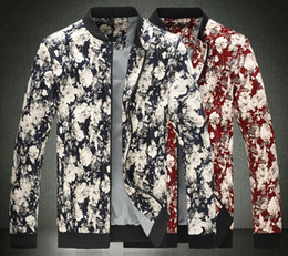 Wholesale Autumn Korean leisure men s men s fashion floral jacket stamp Jacket Mens jacket SIZE M XL
