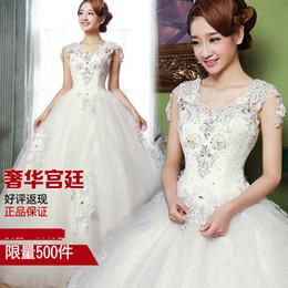 Wholesale 2014 women s spring white bride vintage V neck fashion lace paragraph wedding dress lace formal dress
