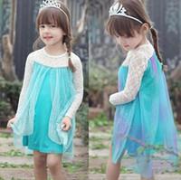 Cheap Wholesale- Frozen long-sleeved dress Frozen clothing Frozen outfit princess gauze dress frozen dressSpring Summer Autumn party Christmas