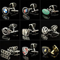 Wholesale 18 Styles Car mark logo cuff links brand auto sign cufflinks French shirt cuff buttons men s Jewelry w gift box