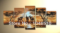 Cheap High Quality African Elephants Family Savanna Sunset Landscape Wall Art Decor Modern Abstract Oil Painting 5 Panel On Canvas Set