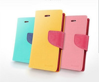 Cheap MERCURY Wallet Leather Case for iPhone 4 4S 5 5S 5C 6 GALAXY S3 S4 S5 Note 2 3 4 Neo Contrast Color Soft TPU Skin Flip Cover