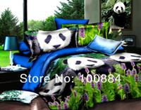 Wholesale NEW Design D oil painting bedding sets cover d oil painting panda bedding set panda oil bed linen EMS
