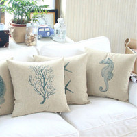 Wholesale Marine Style Cushion Cover Set Throw Cushion for Sofa Car Home Decorative Cushion Covers Thick Linen Pillow Cases