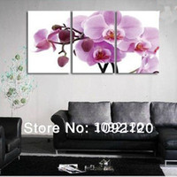 Cheap Handmade Modern Impressionist 3 Panel Set Orchid Flower Oil Paintings Canvas Wall Art Floral Picture Home Decoration No Frame