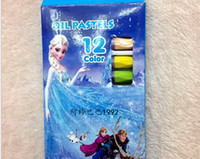 Wholesale New Children Frozen Crayons Colors Washable Non poisonous Oil Pastels Kids Draw Cartoon Princess Elsa Crayons