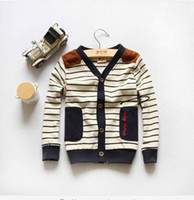 Wholesale Keep a stock children Clothing British style boys and girls V neck stripe knitted cardigan