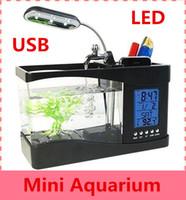 Wholesale 6 LED Light LCD Clock Display With Calendar USB Desktop Aquarium Mini Fish Tank With Running Water DHL