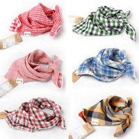 wholesale cotton scarves - Baby Bandana Scarf Bibs Feeding Clear Triangle Cotton Kid Head Scarf Infant Bibs Burp Cloth Plaid Bibs Double yarn SZ0397