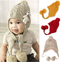 Cheap 1PC New Hot Children Knitted Hats Warm Beanie Kids Winter Crochet Hat Baby Toddler Caps Xmas Gift 3Colors Drop Free