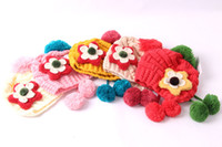 Wholesale Free Size Girls Lovely Knit Hat Princess Flowers Hanging Ball Knitting Bell Cap Kids Keep Warm Hats Sweater cap Random Delivery SZ0390