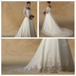 Wholesale Gorgeous Fashionable New Wedding Dress Dresses Sheer White V Neck Lace Appliques Long Illusion Sleeve Chapel Train Bride Ball Gown Hot