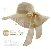 Wholesale Designers Fashion Outdoor Lady Sunhat with Bowtie Womens Travel Hat A8