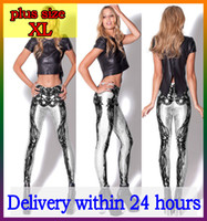 Wholesale XL Polyester white skeleton leggings bone galaxy spandex pants women sexy girls ladies fitness punk rock yoga sport print cute mid Lgs3037