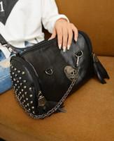 Cheap Skull bags map 2013 new fashion handbag women's designer bag shoulder tote lovely messenger rivet black for gril Free shipping