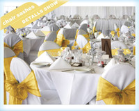 Wholesale organza chair sashes bow wedding cover banquet with Gold