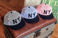Wholesale 2014 NEW YORK Navy Style Baseball Hats Letter Hip Hop Street Dance Caps Denim Stripe Embroidery Hat SZ0393