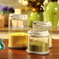 Wholesale kitchen food storage glass bottle sealed plastic tank glass bottle honey pot tea dried fruit snack cans A002
