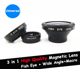 Magnetic 3 in 1 Wide Angle lens  Macro lens 180 Fish Eye Lens Kit Set for iPhone 6 5S 5C 4 4S iPod Nano 4G iPad,free shipping