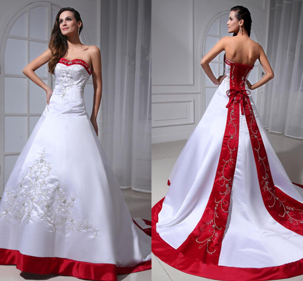 White Wedding Dresses With Red Trim : Red trim a line wedding dresses sweetheart white satin