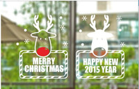 Wholesale Christmas New Year Christmas deer wall stickers shop window stickers decorative glass door sticker decorations props removable customized