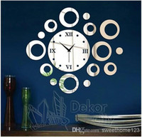 Cheap EMS Free! 3D Wall Clock Sticker Creative Sofa&TV Background DIY Clock Paper Acrylic Mirror Decorative Circle&Ring Clock Poster,Sweethome123