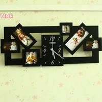 Cheap 1pcs New Arrival Photo Frame Wall Clock & Creative Wood Frame Wall Clock & Wall Clock Picture Frame Free Shipping