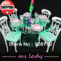 Wholesale Furniture for Barbie Doll Accessories Girl s toy Doll Accessories Dinner Table for Barbie with Tracking Code