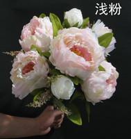 Wholesale 45cm quot Legnth peony Bridal Bouquet Wedding Party Table Centerpiece Home Decoration Silk Artificial Flower Heads Bush Arrangement