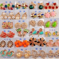 Women's nail charms - MIX ORDER Pair Pearl Gold Silver HOOP stud earring Charm Stud Ear Ring stud Ear nail