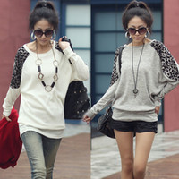 Wholesale 065 women new fashion colors long sleeve leopard printed loose t shirts spring autumn knitted blouses tops drop ship